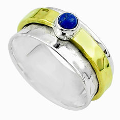 0.50cts victorian lapis lazuli silver two tone spinner band ring size 8 t51833