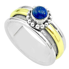 0.85cts victorian lapis lazuli silver two tone spinner band ring size 9 t51817