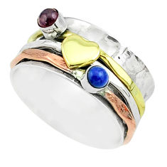 0.66cts victorian lapis lazuli silver two tone spinner band ring size 7.5 t51526