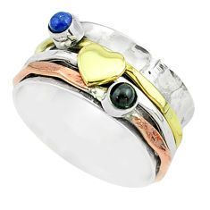 0.78cts victorian lapis lazuli silver two tone spinner band ring size 8.5 t51531
