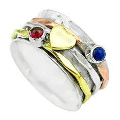 0.65cts victorian lapis lazuli silver two tone spinner band ring size 8.5 t51535