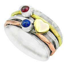 0.63cts victorian lapis lazuli silver two tone spinner band ring size 7.5 t51536