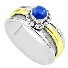 0.84cts victorian lapis lazuli silver two tone spinner band ring size 8.5 t51803