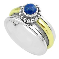 0.83cts victorian lapis lazuli silver two tone spinner band ring size 7.5 t51815