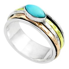1.52cts victorian larimar 925 silver two tone spinner band ring size 7 t51606
