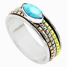 1.76cts victorian larimar 925 silver two tone spinner band ring size 7 t51883