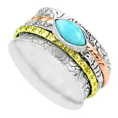 1.64cts victorian larimar 925 silver two tone spinner band ring size 8 t51517