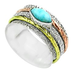1.81cts victorian larimar 925 silver two tone spinner band ring size 8 t51641