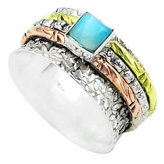 1.02cts victorian larimar 925 silver two tone spinner band ring size 8 t51651