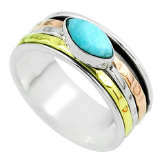 1.51cts victorian larimar 925 silver two tone spinner band ring size 7.5 t51617