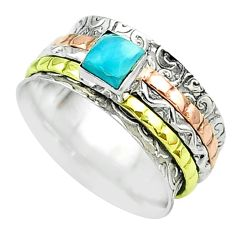 1.10cts victorian larimar 925 silver two tone spinner band ring size 8.5 t51670