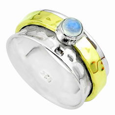 0.52cts victorian moonstone 925 silver two tone spinner band ring size 8 t51821
