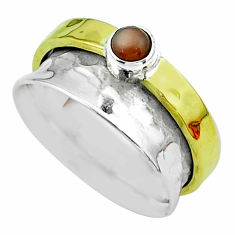 0.50cts victorian moonstone silver two tone spinner band ring size 8.5 t51826