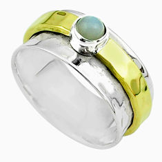 0.50cts victorian moonstone silver two tone spinner band ring size 8.5 t51827