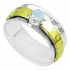 0.48cts victorian moonstone silver two tone spinner band ring size 8.5 t51840
