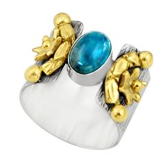 2.27cts victorian natural blue apatite 925 silver two tone ring size 7.5 r21083