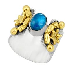 2.01cts victorian natural blue apatite 925 silver two tone ring size 7.5 r21094