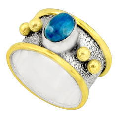 2.00cts victorian natural blue apatite 925 silver two tone ring size 8 r21087