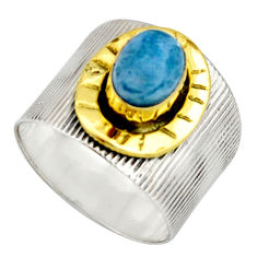 2.10cts victorian natural blue apatite 925 silver two tone ring size 8 r21090