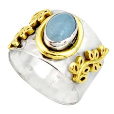 2.34cts victorian natural blue aquamarine silver two tone ring size 9.5 r21050