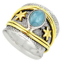 2.27cts victorian natural blue aquamarine silver two tone ring size 6.5 r21059