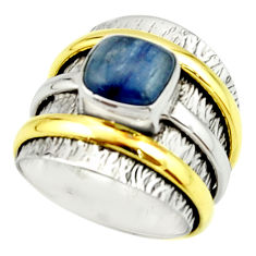 3.22cts victorian natural blue kyanite 925 silver two tone ring size 6.5 r22173