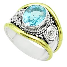 3.17cts victorian natural blue topaz 925 silver two tone ring size 6 t57392
