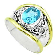 3.01cts victorian natural blue topaz 925 silver two tone ring size 8 t57384