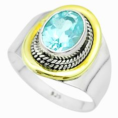 3.10cts victorian natural blue topaz 925 silver two tone ring size 8 t57394