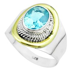 3.26cts victorian natural blue topaz 925 silver two tone ring size 8 t57395