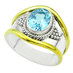3.14cts victorian natural blue topaz 925 silver two tone ring size 8 t57410