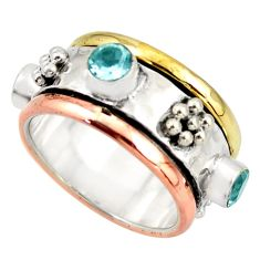 3.39cts victorian natural blue topaz silver two tone spinner ring size 7 d46323
