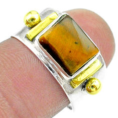 3.05cts victorian natural brown tiger's eye silver two tone ring size 7 t57425