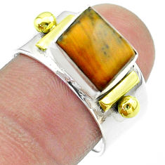 3.12cts victorian natural brown tiger's eye silver two tone ring size 8 t57427
