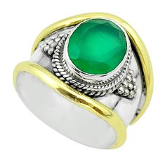 4.16cts victorian natural green chalcedony silver two tone ring size 6 t57291