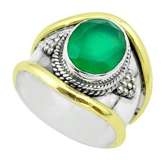 4.16cts victorian natural green chalcedony silver two tone ring size 8 t57289