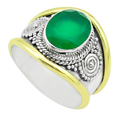 4.22cts victorian natural green chalcedony silver two tone ring size 8 t57290