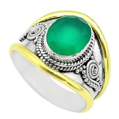 4.11cts victorian natural green chalcedony silver two tone ring size 8 t57294