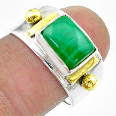 3.24cts victorian natural green malachite 925 silver two tone ring size 8 t57437