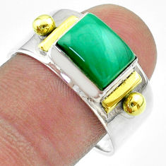3.13cts victorian natural green malachite 925 silver two tone ring size 9 t57436