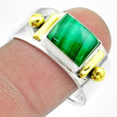 3.27cts victorian natural green malachite silver two tone ring size 10 t57421