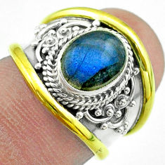 3.18cts victorian natural labradorite 925 silver two tone ring size 6 t57360