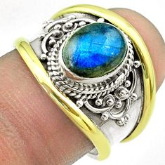 3.10cts victorian natural labradorite 925 silver two tone ring size 7.5 t57233