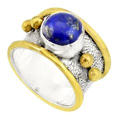 3.10cts victorian natural lapis lazuli 925 silver two tone ring size 7 r21015