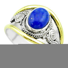 2.93cts victorian natural lapis lazuli 925 silver two tone ring size 7 t57162