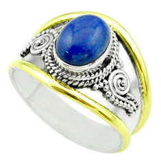 2.93cts victorian natural lapis lazuli 925 silver two tone ring size 9 t57161