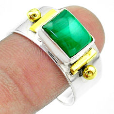 3.10cts victorian natural malachite 925 silver two tone ring size 10.5 t57434