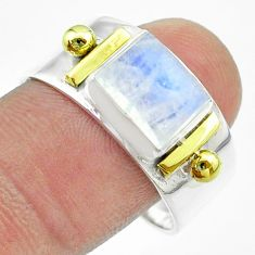 3.08cts victorian natural moonstone 925 silver two tone ring size 10.5 t57439