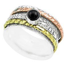 0.63cts victorian natural onyx silver two tone spinner band ring size 7 t51501