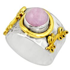 3.24cts victorian natural pink kunzite 925 silver two tone ring size 8.5 r21126